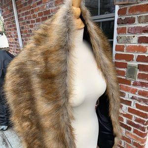 Bridal Wedding Brown Faux Fur Stole Wrap